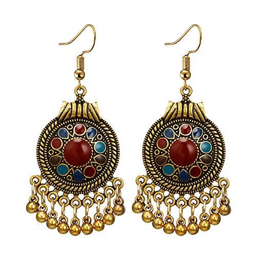 Nihewoo Hoop Earrings for Women Retro Bell Stud Earrings Alloy Long Earrings Geometric Drop Earrings Boho Ethnic Earrings (Gold H)