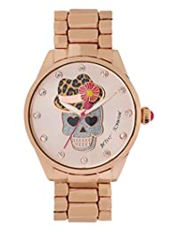 Betsey Johnson Women's Rose Gold-Tone Skull with Leopard Hat Bracelet Watch 40mm BJ00421-05