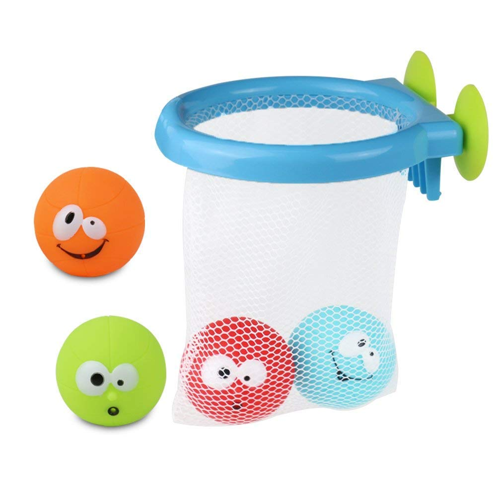 K.C Bath Toys Set Bath Time Basketball and 4 Squirting Balls Bath Dunkers for babies boys girls age 3 years old up (5 pcs)