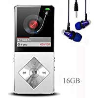 Mp3 player, Music Player, Hotechs Hi-Fi Sound , with FM Radio, Recording Function Build-in Speaker Expandable Up to 64GB with Noise Isolation Wired Earbuds … (16G-Silver-Xo3)