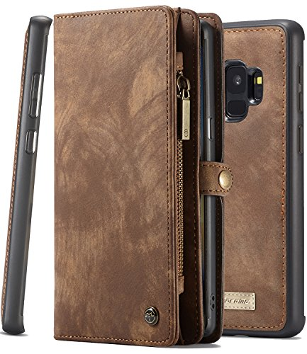 Galaxy S9 Wallet Phone Detachable Case XRPow Samsung S9 Multi-Functional Folio Flip Vegan Leather Wallet Removable Magnetic Back Cover 11 Card Slots & 3 Cash Pocket Shock Protection Cover BROWN