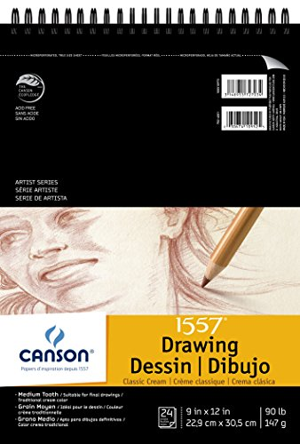 Popular Drawing Pad - Canson Artist Series 1557 Cream Drawing Paper Pad for Pen, Ink and Graphite Pencil, Top Wire Bound, 90 Pound, 9 x 12 Inch, Cream, 24 Sheets