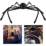 Unomor Giant Halloween Spider 125cm with LED Eyes Spooky Sound Foldable Outdoor Spider Decorations