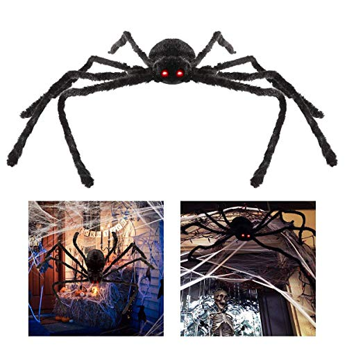 Unomor Giant Halloween Spider 125cm with LED Eyes Spooky Sound Foldable Outdoor Spider Decorations -