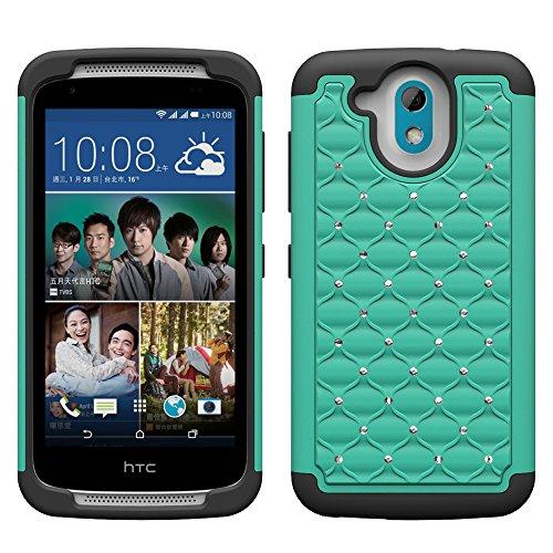 HTC Desire 526 Case - Galaxy Wireless Heavy Duty Hybrid Dual Layer Diamond Crystal Case For HTC Desire 526 - Teal on Black Skin Rhinestones