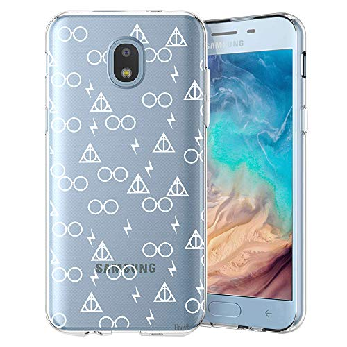 Case Clear with Design Slim Protective Soft TPU Bumper Embossed Pattern Cover for Galaxy J7 Crown J7 Refine J7 Star J7 V J7V 2nd Gen J7 Aero J737V(Death Hallows) ()