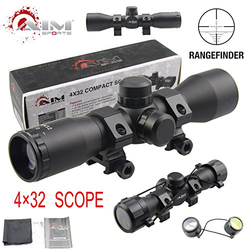 TACFUN AIM Sports Tactical 4X32 Compact .223 .308 Scope/w Rings Rangefinder Reticle