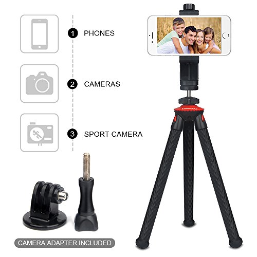 outlet Camera Tripod,Lammcou Phone Tripod DSLR Tripod Cell Phone Tripod Lightweight Tripod Stand Smartphone Tripod Tripod Stand Holder for iPhone, Android Phone,Cellphone, Sports Camera GoPro