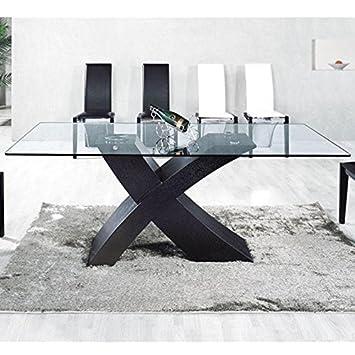 Table En Verre Mix Pied Noir 150 X 90cm Amazon Fr Cuisine