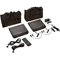 Audiovox Dual screen 7inch Portable DVD Player with headrest brackets and carry bag, D7121PK