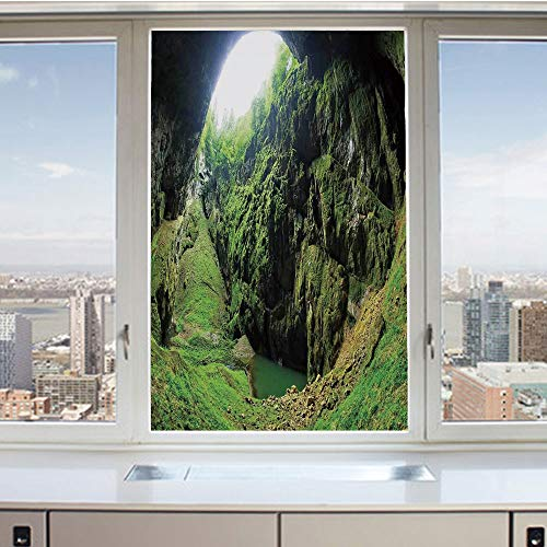 3D Decorative Privacy Window Films,Punkevni Cave in Czech Republic European Geological Formation Myst Hole Landscape,No-Glue Self Static Cling Glass film for Home Bedroom Bathroom Kitchen Office 24x36 (Best Sights In Czech Republic)