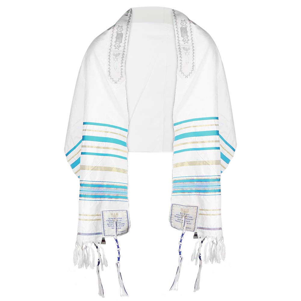 "Messianic Tallit Prayer Shawl 72""x 22"" with Bag 