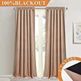 nursery window treatments 2 Layers Velvet Soundproof Curtains - Soft Silky Velvet Drapes with 100% Blackout Backing Heat Insulated Window Treatment Set for Bedroom/Nursery, Blush Beige, W52 x L84, 1 Pair