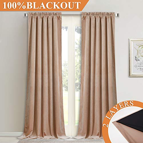 2 Layers Velvet Soundproof Curtains - Soft Silky Velvet Drapes with 100% Blackout Backing Heat Insulated Window Treatment Set for Bedroom/Nursery, Blush Beige, W52 x L84, 1 Pair