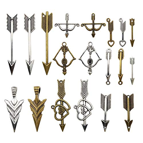 100g Craft Supplies Mixed Arrows Pendants Beads Charms Pendants for Crafting, Jewelry Findings Making Accessory For DIY Necklace Bracelet M21 (Arrows Charms)