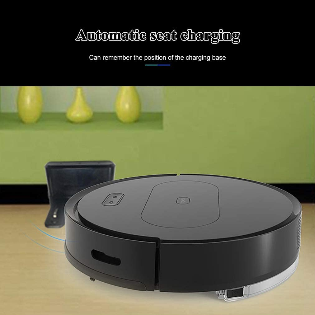 Robot Cleaner, 1800Pa Strong Suction, Self-Charging, Water Tank, Anti-Falling Detection Robot Vacuumm Cleaner, for Hard Floor, Medium-Pile Mops Black