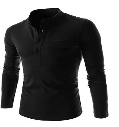 Rcdxing Estilo simple Camisa POLO de manga larga negra para hombre para el hombre (Color : Black, tamaño : L): Amazon.es: Ropa y accesorios