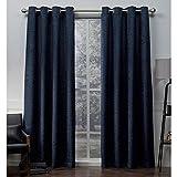 Exclusive Home Criss Cross Eyelash Chenille Grommet Top Curtain Panel Pair, Navy, 54×96, 2 Piece