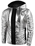 COOFANDY Mens Metallic Nightclub Style Hooded Varsity Baseball Bomber Jacket Golden&Silver&Blue