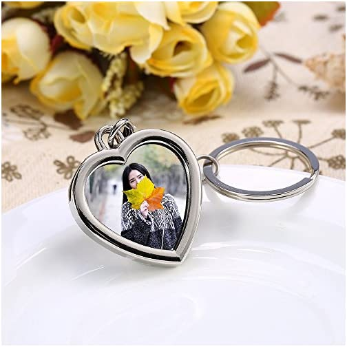 Mini Photo Keychain Set - 3PCs Small Blank Picture Frame Stainless Steel Personalized Key Rings Love Souvenir Pictures…  