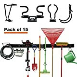 15-PCS Garage Storage Systems Adjustable Rack Wall Mounted Removable Hook Organizer Hanger for Broom Mop Rake Shovel & Garden Tools, 80inch Rail, 10 Hooks