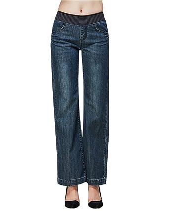 f0068165360e35 ZongSen Damen Hosen Bootcut Jeans Gerade geschnittene Hose Taillen-Schlauch  Hüftjeans: Amazon.de: Bekleidung