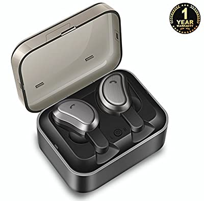 True Wireless Earbuds Ecoker Stereo Bluetooth 4.2 Headphones Mini Twins Dual Cordless Earphones Sweatproof In-Ear Noise Cancelling Headset with Charging Case for Sports Runing