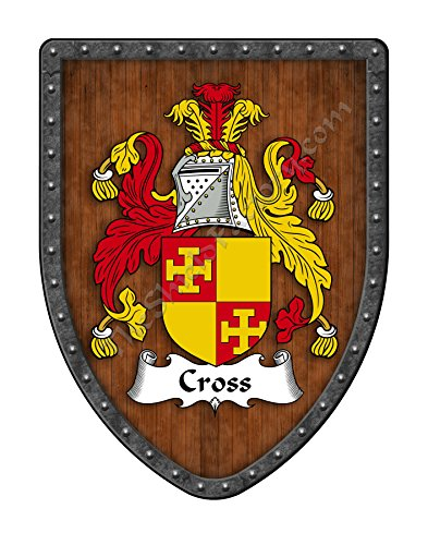 Cross Family Crest Custom Coat of Arms, Family Ancestry and Heritage Hanging Metal Wall Plaque Shield - Hand Made in the USA ()
