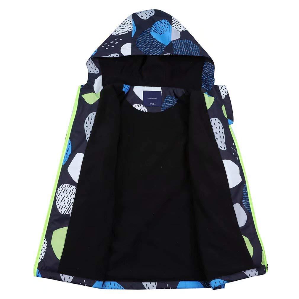 Muaney Kids Boys Girls Waterproof Rain Jackets Outdoor Raincoats Lightweight Windbreaker Fleece Lined