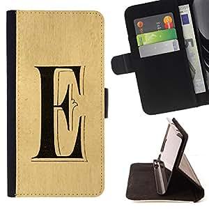 BullDog Case - FOR/Samsung Galaxy Core Prime / - / e letter every Elena ellie parchment /- Monedero de cuero de la PU Llevar cubierta de la caja con el ID Credit Card Slots Flip funda de cuer