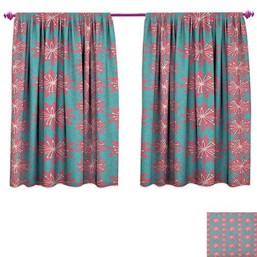 homefeel Outdoor Thermal Insulating Blackout Curtain Germinating Plants Wildflowers Twigs Sprouts Buds Lively Rustic Patio Print Decor Curtains by W72 x L63 Teal Pink White