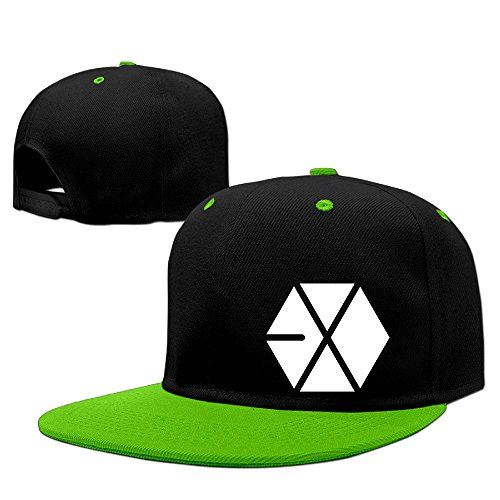 Price comparison product image Custom Unisex-Adult Kpop EXO Logo Flat Bill Baseball CapHat KellyGreen