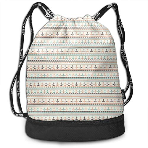 Fashion Gym Gift Printed Drawstring Backpacks Bags,Wavy Lines Little Dots And Stripes Border Pattern Marine Travel Voyage,Adjustable String Closure For Men And Women