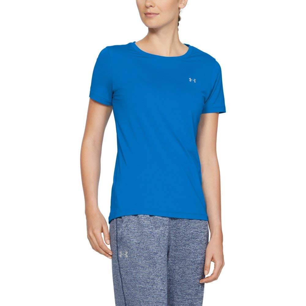 Under Armour Women's HeatGear Armour Short Sleeve, Blue Circuit, X-Small