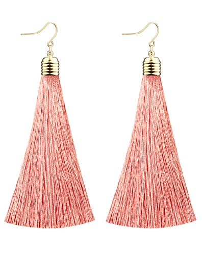 - Mina Gold Long Tassel Draping 4 inch Drop Extra Long Shoulder Duster Pale Pink Peach Earring