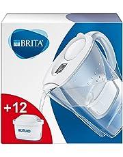 BRITA Waterfilter Marella wit incl. 12 MAXTRA + filterpatronen - BRITA Filterstartpakket om kalk, chloor, lood, koper en smaakverstorende stoffen in het water te verminderen