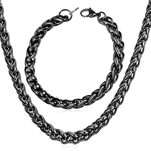 U7 Men Cool Black Chain Hip Hop Jewelry 9mm Fashion Steel Based Black Gun Plated Necklace Bracelet Set (22