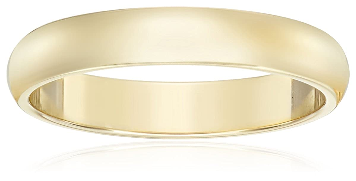 Women's 10k Yellow Gold 3mm Traditional Plain Wedding Band Amazon Collection