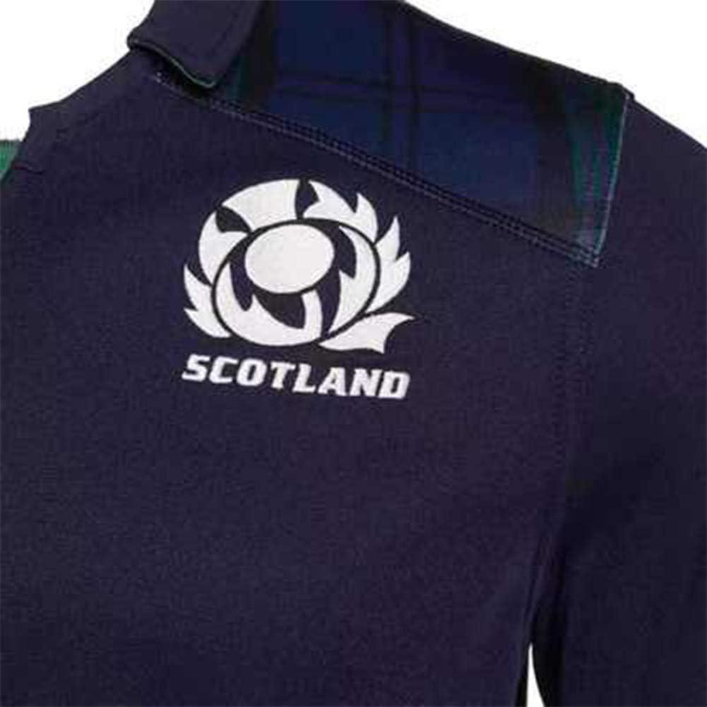 HXSON Polo da Rugby per Uomo-Maglia da Calcio 2019 Coppa del Mondo di Scozia Maglie Allenamento Scozia Abbigliamento Sportivo Felpa in Tessuto Ricamato Manica Lunga Felpa miglior Regalo