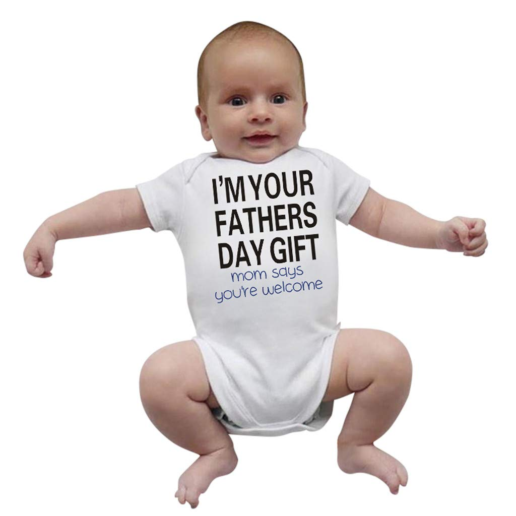ZHMEI Happy 1St Fathers Day, Newborn Infant Baby Girl Boy Bodysuit Straps Letter Romper Outfits Baby-Bodysuit