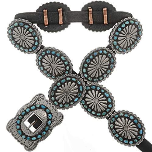 Old Pawn Style Concho Belt Navajo Turquoise Antiqued Silver 0025 ()