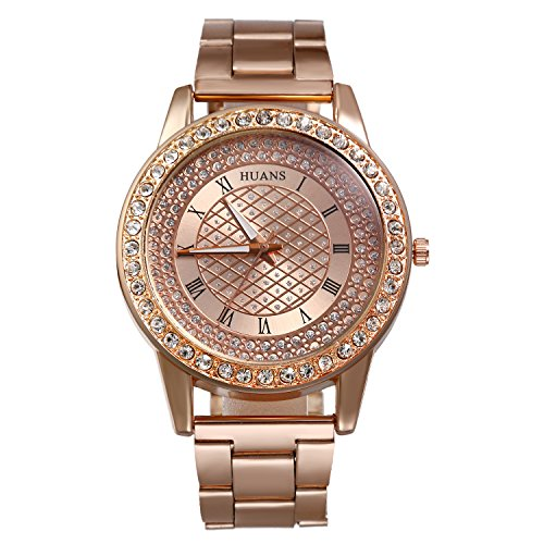 Women's Bling Jewelry Bracelet Band Quartz Watch Round Rhinestone Dial Stainless Steel Strap (Rose Gold) from Lancardo