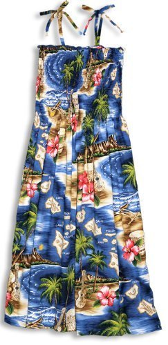 RJC Women's Hibiscus Hawaiian Island Hawaiian Smocked Sundress Navy Blue -
