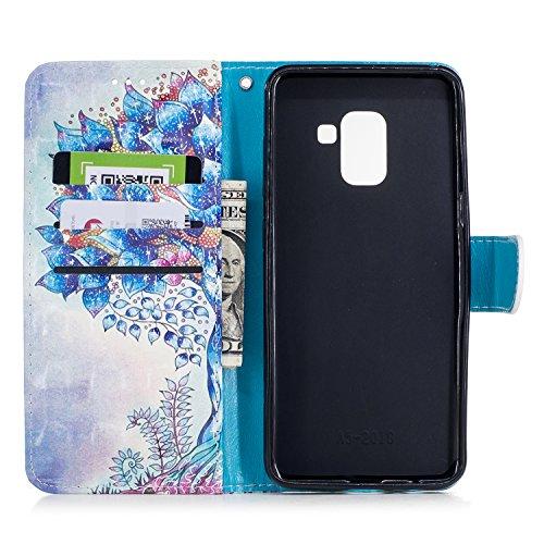 Samsung Galaxy A8 2018 Funda piel, Vandot Bonito Pintura Caja de Cuero de la PU 3D Lindo Patrón de Conejo Soporte Plegable Magnética Folio Carcasa Suave Silicona Flip Piel Bumper Protector Tapa Cover  3DCH-7