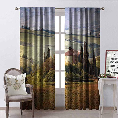 Gloria Johnson Tuscan Shading Insulated Curtain Tuscany Seen from Stone Ancient Village of Montepulciano Italy in Cloudy Day Soundproof Shade W52 x L63 Inch Green and Brown