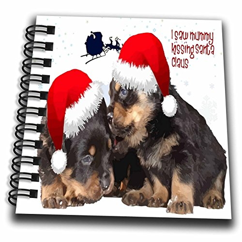 3dRose Taiche - Vector - Rottweiler Christmas - Puppy White Christmas I Saw Mummy Kissing Santa Claus - Mini Notepad 4 x 4 inch (Rottweiler Notepad)