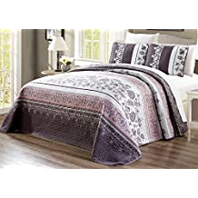 """3-Piece Oversize (115"""" X 95"""") Fine printed Prewashed Quilt Set Reversible Bedspread Coverlet KING SIZE Bed Cover (Purple. Grey, Black, White, Floral)"""