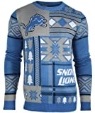 NFL Detroit Lions Patches Ugly Sweater, Blue, Large