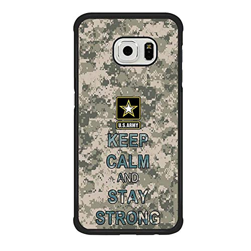 Skinsends Hippie US Army Quote Camo Pattern Phone case Compatible with Samsung S6 Edge, Keep Calm and Stay Strong Phone case Compatible with Samsung Galaxy S6 Edge]()