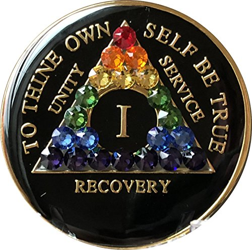 (1 Year Black Rainbow Swarovski Crystal Tri-Plate AA Medallion Chip)